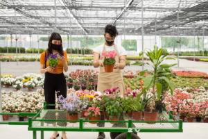 Frau und Mann im Blumenladen